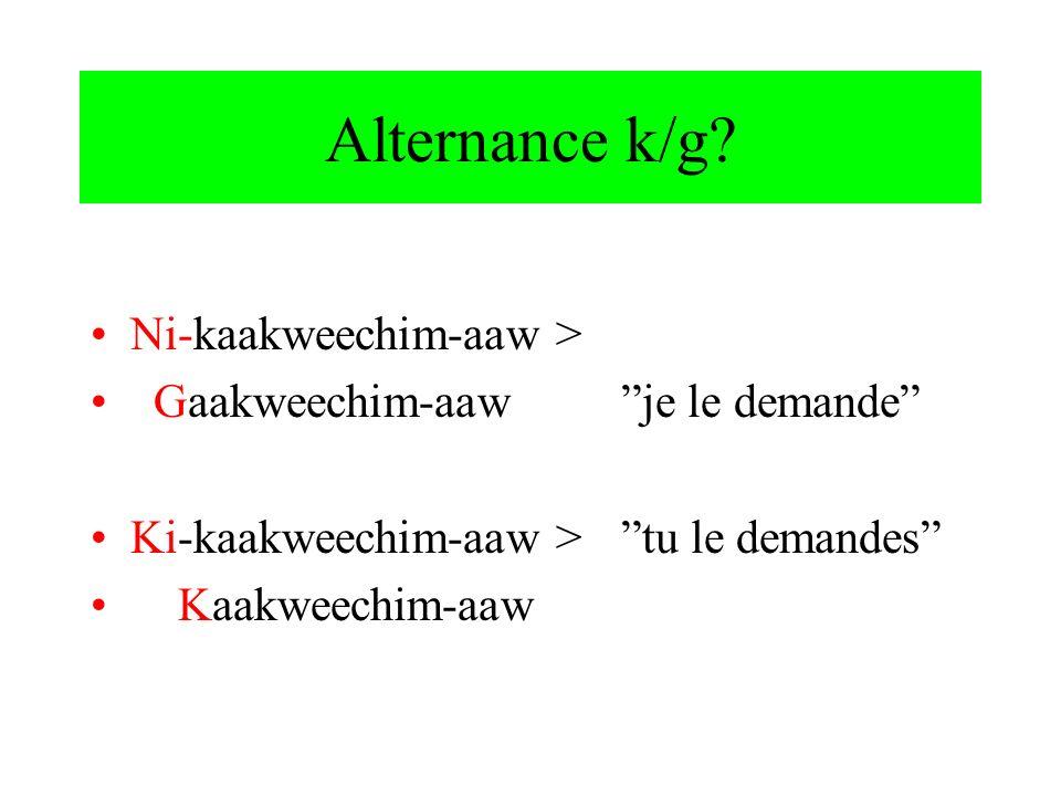 Alternance k/g? Ni-kaakweechim-aaw > Gaakweechim-aawje le demande Ki-kaakweechim-aaw >tu le demandes Kaakweechim-aaw