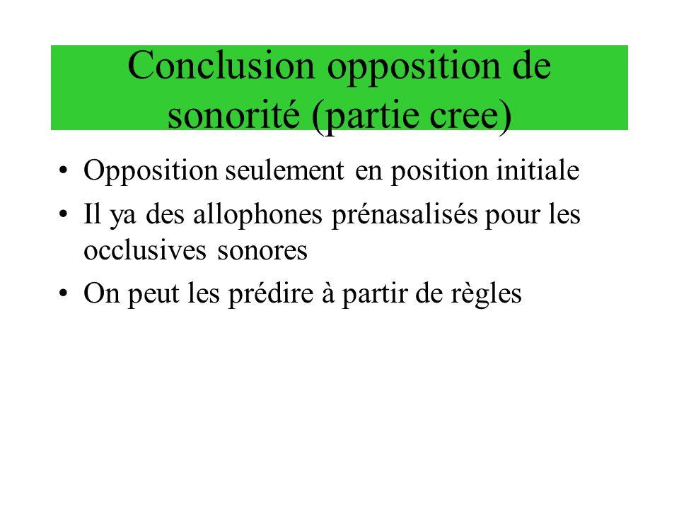 Conclusion opposition de sonorité (partie cree) Opposition seulement en position initiale Il ya des allophones prénasalisés pour les occlusives sonore