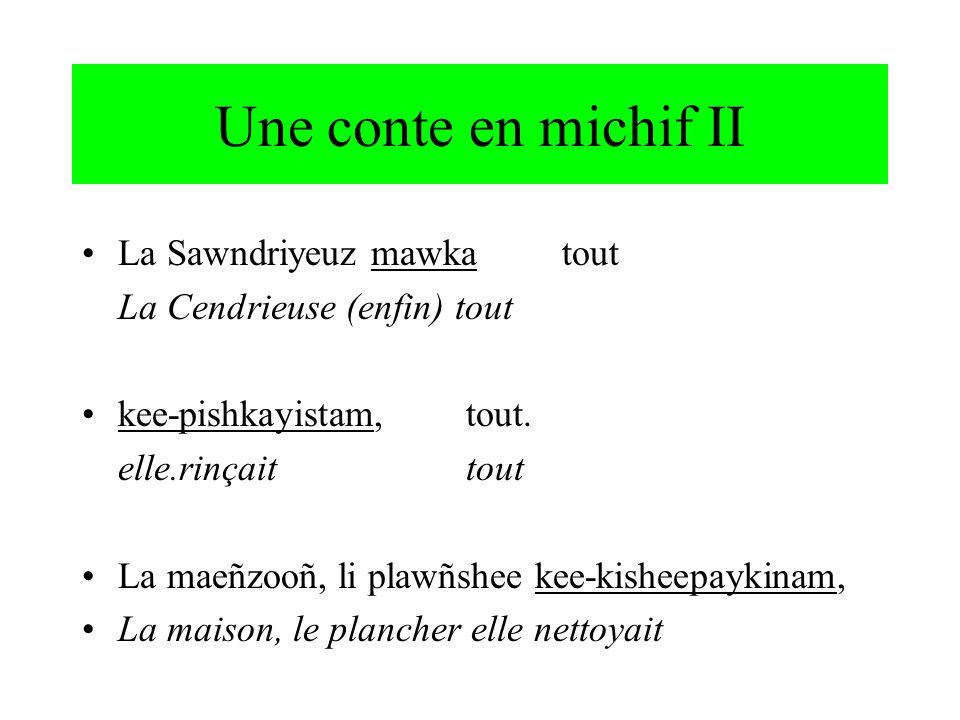 possession nominale : deux classes CLASS 1 (Cris) 1ni-mušum grand-père 2ki-mušum 3o-mušum-a 1+1ni-mušum-ina:n 1+2ki-mušum-ina:n 2PL ki-mušum-inaw 3PLo-mušum-a (leur(s)..) 3PL o-mušum-iyiwa (à lautre) CLASS 2 (Français) 1 mû pe:rpère, prêtre 2 tû pe:r 3 sû pe:r 1PLnOt pe:r 2PLvOt pe:r 3PLleu pe:r