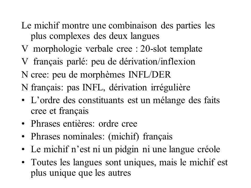 Le michif montre une combinaison des parties les plus complexes des deux langues V morphologie verbale cree : 20-slot template V français parlé: peu d