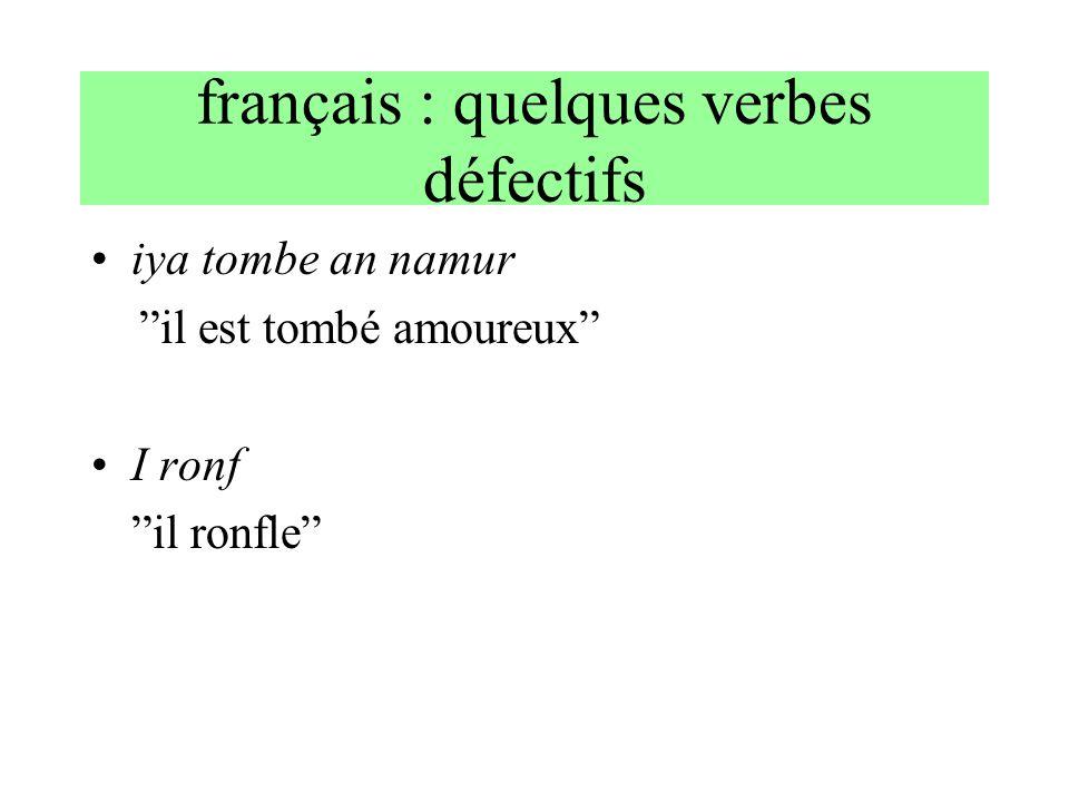 français : quelques verbes défectifs iya tombe an namur il est tombé amoureux I ronf il ronfle