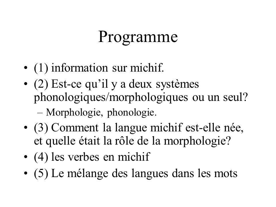 Programme (1) information sur michif. (2) Est-ce quil y a deux systèmes phonologiques/morphologiques ou un seul? –Morphologie, phonologie. (3) Comment