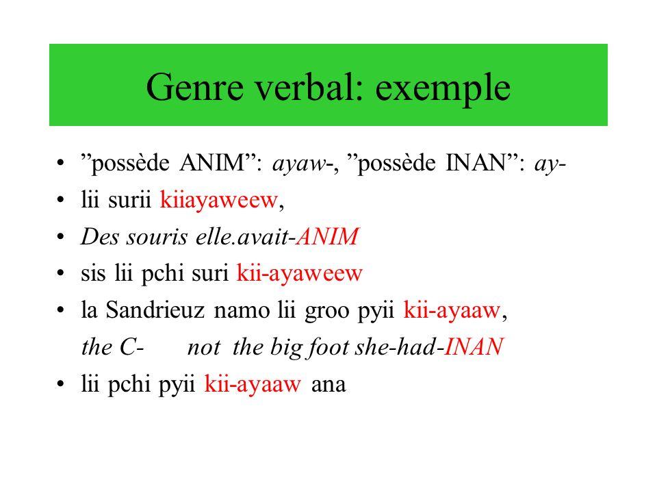 Genre verbal: exemple possède ANIM: ayaw-, possède INAN: ay- lii surii kiiayaweew, Des souris elle.avait-ANIM sis lii pchi suri kii-ayaweew la Sandrie