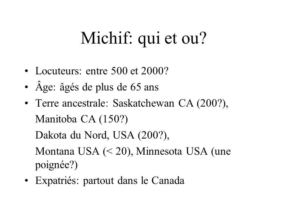Michif: qui et ou? Locuteurs: entre 500 et 2000? Âge: âgés de plus de 65 ans Terre ancestrale: Saskatchewan CA (200?), Manitoba CA (150?) Dakota du No