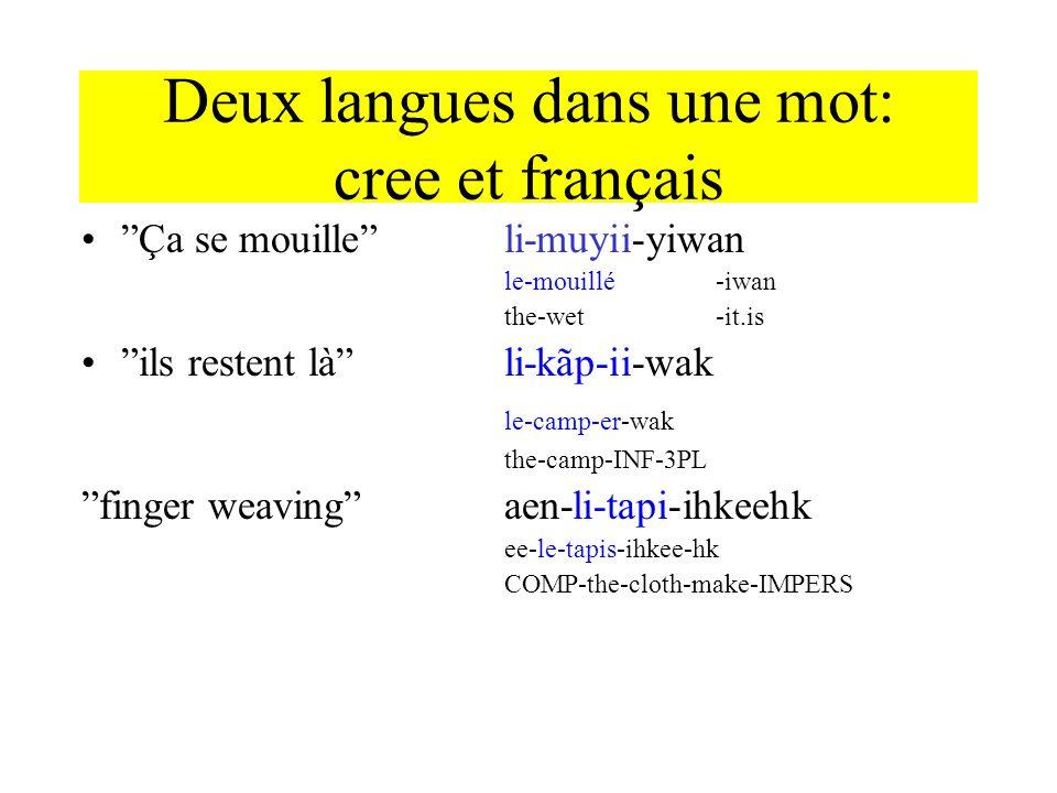 Deux langues dans une mot: cree et français Ça se mouilleli-muyii-yiwan le-mouillé-iwan the-wet-it.is ils restent làli-kãp-ii-wak le-camp-er-wak the-c