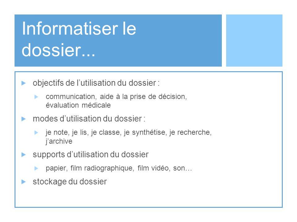 Informatiser le dossier... objectifs de lutilisation du dossier : communication, aide à la prise de décision, évaluation médicale modes dutilisation d