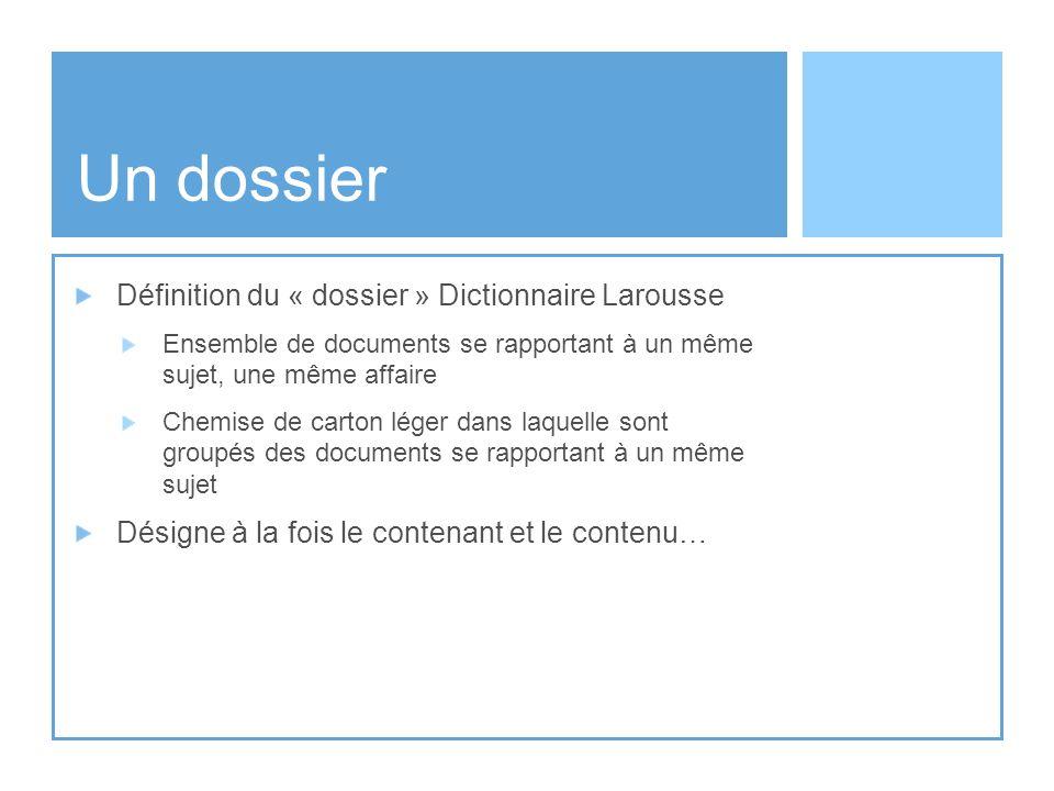 Un dossier Définition du « dossier » Dictionnaire Larousse Ensemble de documents se rapportant à un même sujet, une même affaire Chemise de carton lég