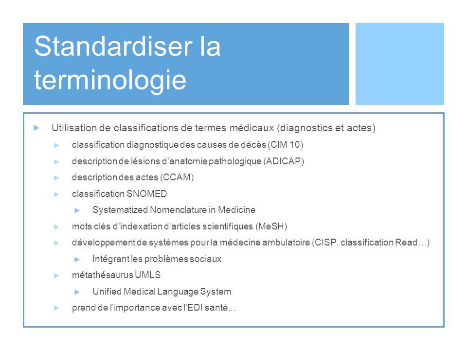 Standardiser la terminologie Utilisation de classifications de termes médicaux (diagnostics et actes) classification diagnostique des causes de décès