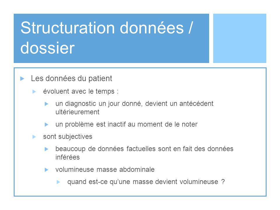 Structuration données / dossier Les données du patient évoluent avec le temps : un diagnostic un jour donné, devient un antécédent ultérieurement un p