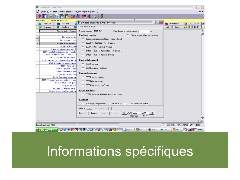 Informations spécifiques