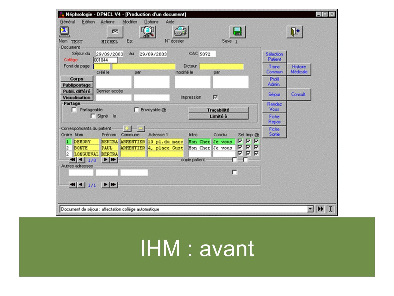 IHM : avant