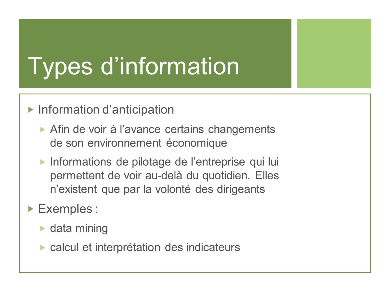 Types dinformation Information danticipation Afin de voir à lavance certains changements de son environnement économique Informations de pilotage de l
