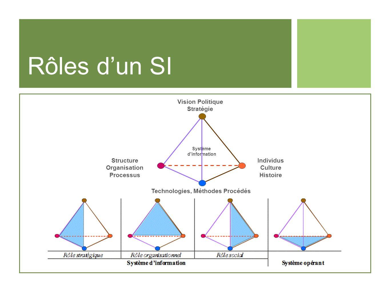 Rôles dun SI Vision Politique Stratégie Structure Organisation Processus Individus Culture Histoire Technologies, Méthodes Procédés Système d'informat