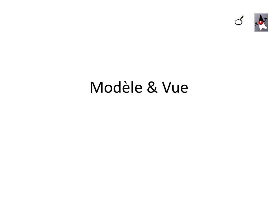 MODÈLE/VUE AVEC LES JLIST ET LES JTABLE Il est possible de partager le modèle de données dune JTable ou dune JList à dautres composants considérés comme dautres vues de lobjet JTable ou JList Par exemple : une liste de noms affichée dans une JList.