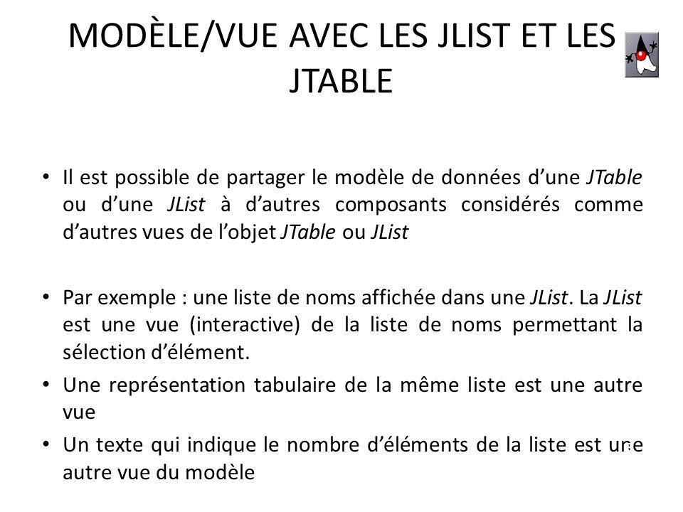 JTABLE : LE MODÈLE ASSOCIÉ Il existe 3 différents éléments pour créer un modèle : – Linterface TableModel – La classe AbstractTableModel qui implémente TableModel – La classe DefaultTableModel DefaultTableModel est le plus simple à utiliser, quelques constructeurs associés : – DefaultTableModel(int row, int col) – DefaultTableModel(Object[][] data, Object[] columnNames) – DefaultTableModel(Vector data, Vector columnNames) – … 14
