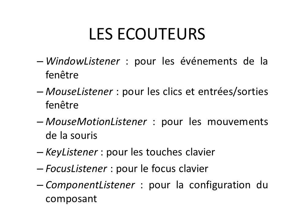 LES ECOUTEURS – WindowListener : pour les événements de la fenêtre – MouseListener : pour les clics et entrées/sorties fenêtre – MouseMotionListener : pour les mouvements de la souris – KeyListener : pour les touches clavier – FocusListener : pour le focus clavier – ComponentListener : pour la configuration du composant 40