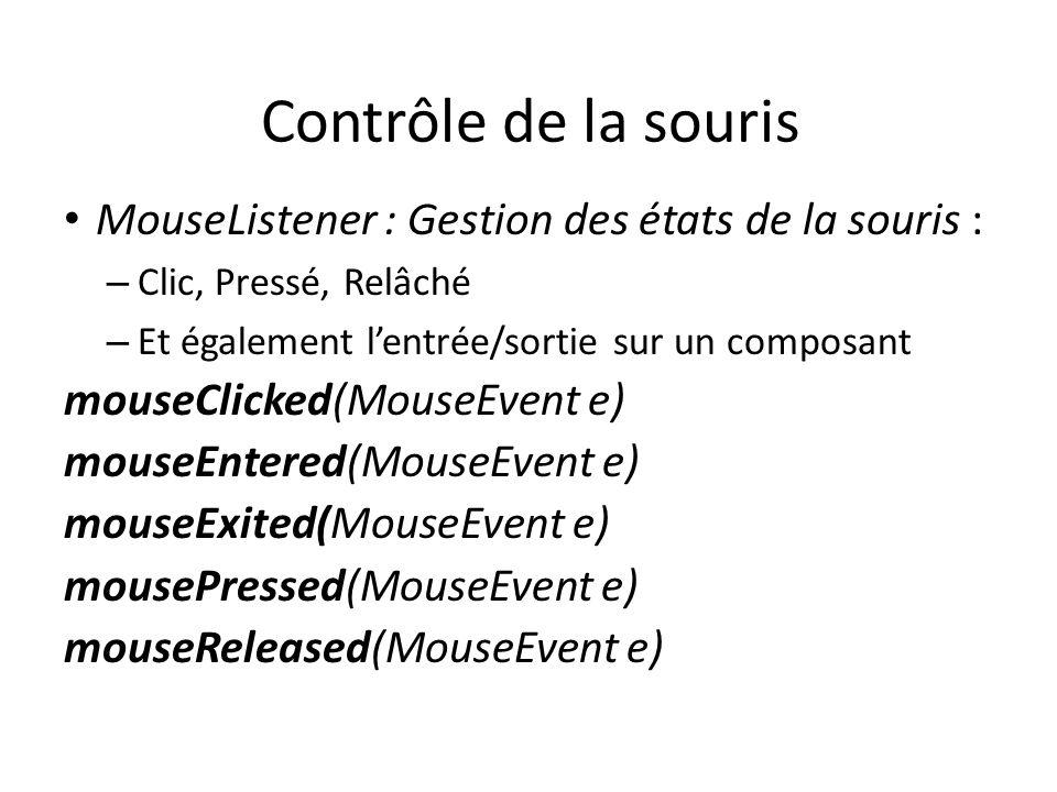 Contrôle de la souris MouseListener : Gestion des états de la souris : – Clic, Pressé, Relâché – Et également lentrée/sortie sur un composant mouseCli