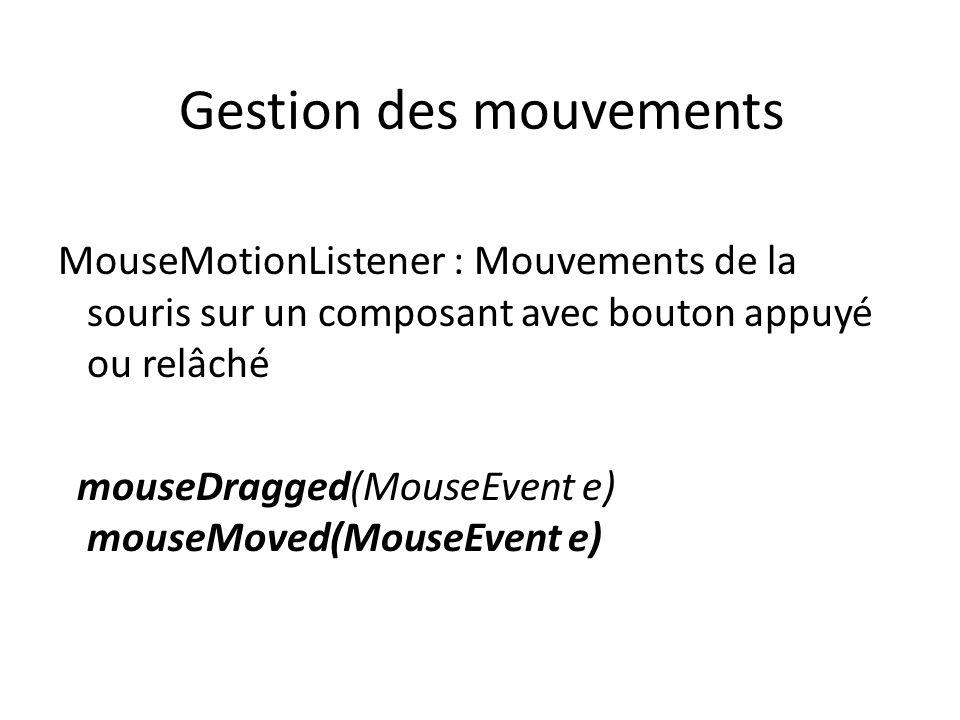 Gestion des mouvements MouseMotionListener : Mouvements de la souris sur un composant avec bouton appuyé ou relâché mouseDragged(MouseEvent e) mouseMoved(MouseEvent e) 43