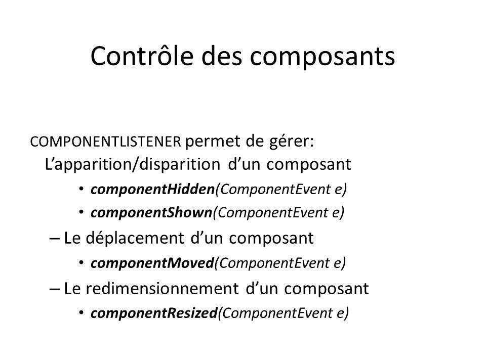 Contrôle des composants COMPONENTLISTENER permet de gérer: Lapparition/disparition dun composant componentHidden(ComponentEvent e) componentShown(ComponentEvent e) – Le déplacement dun composant componentMoved(ComponentEvent e) – Le redimensionnement dun composant componentResized(ComponentEvent e) 46