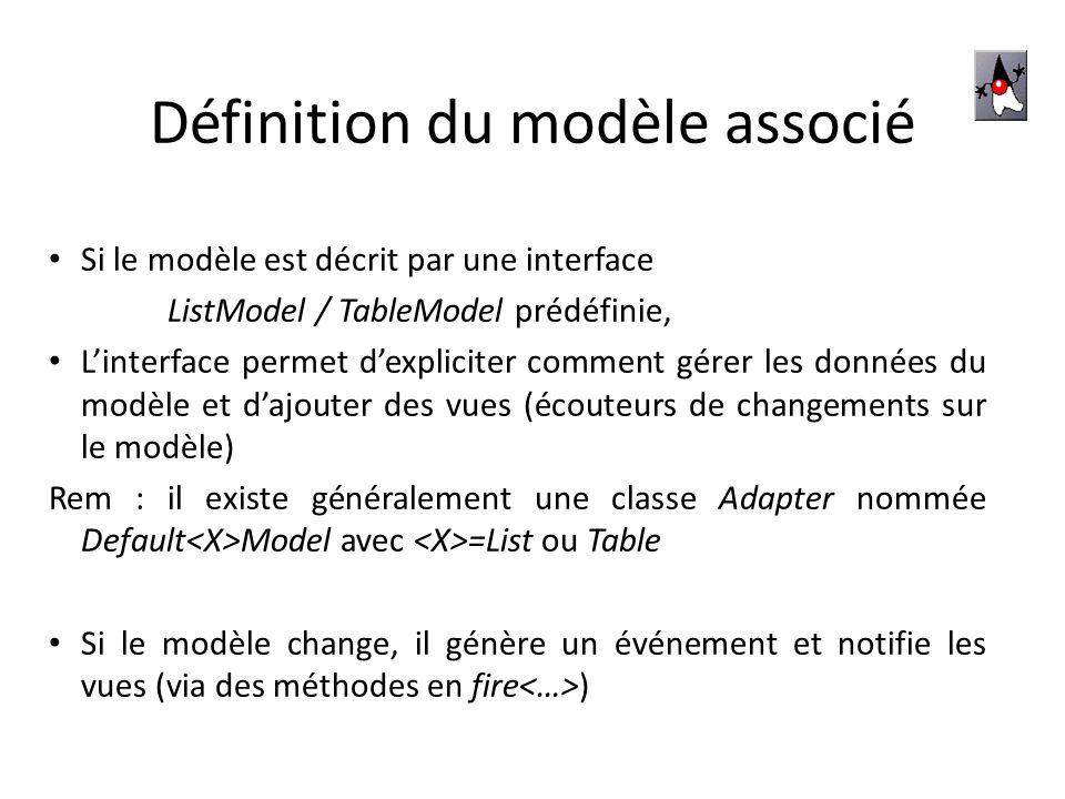 JLIST Possède différents constructeurs : – Données fixes : JList (Vector listData) JList (Object[] listData) – Données modifiables : JList (ListModel dm) 6