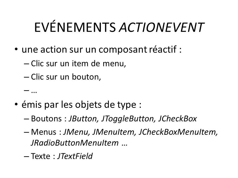 EVÉNEMENTS ACTIONEVENT une action sur un composant réactif : – Clic sur un item de menu, – Clic sur un bouton, – … émis par les objets de type : – Boutons : JButton, JToggleButton, JCheckBox – Menus : JMenu, JMenuItem, JCheckBoxMenuItem, JRadioButtonMenuItem … – Texte : JTextField 56