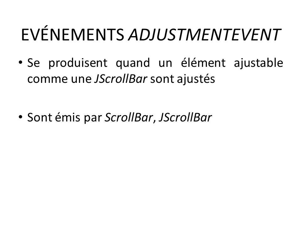 EVÉNEMENTS ADJUSTMENTEVENT Se produisent quand un élément ajustable comme une JScrollBar sont ajustés Sont émis par ScrollBar, JScrollBar 58
