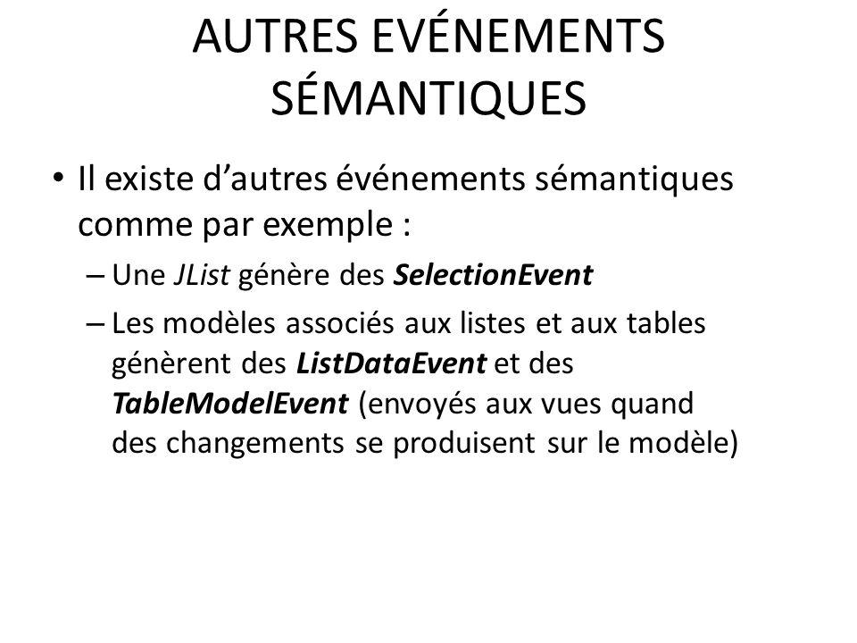 AUTRES EVÉNEMENTS SÉMANTIQUES Il existe dautres événements sémantiques comme par exemple : – Une JList génère des SelectionEvent – Les modèles associés aux listes et aux tables génèrent des ListDataEvent et des TableModelEvent (envoyés aux vues quand des changements se produisent sur le modèle) 68