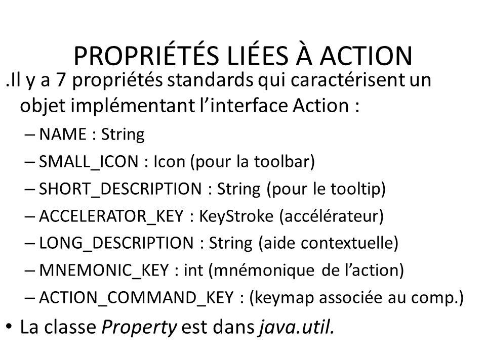 PROPRIÉTÉS LIÉES À ACTION.Il y a 7 propriétés standards qui caractérisent un objet implémentant linterface Action : – NAME : String – SMALL_ICON : Ico