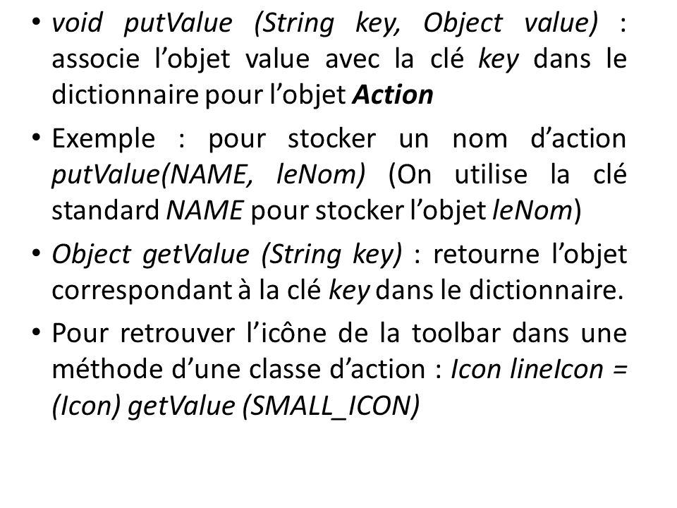 void putValue (String key, Object value) : associe lobjet value avec la clé key dans le dictionnaire pour lobjet Action Exemple : pour stocker un nom