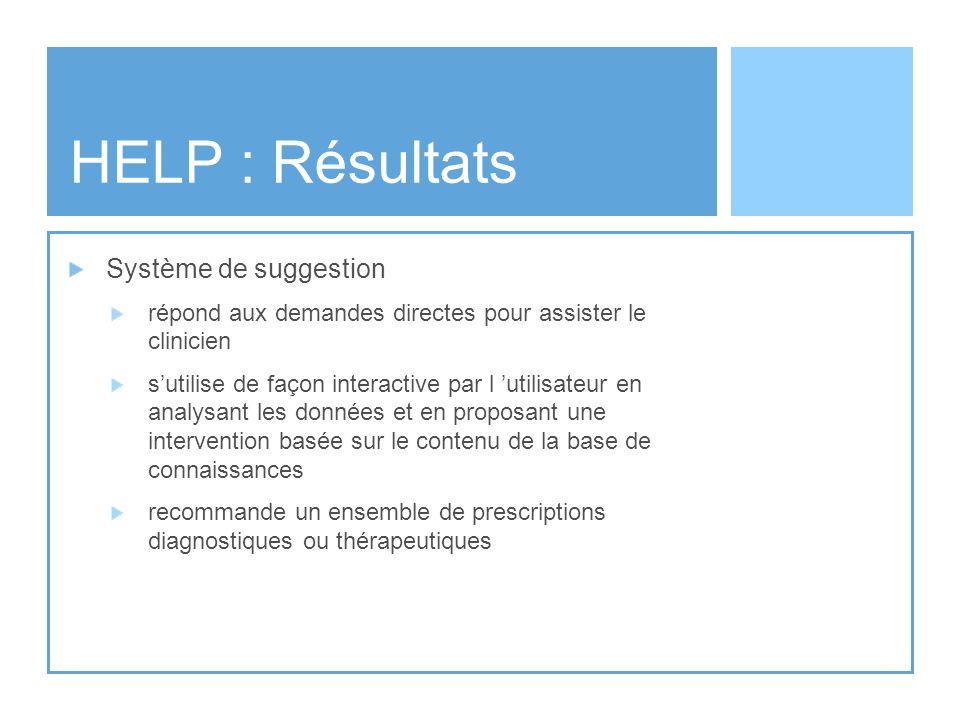 HELP : Résultats Système de suggestion répond aux demandes directes pour assister le clinicien sutilise de façon interactive par l utilisateur en anal