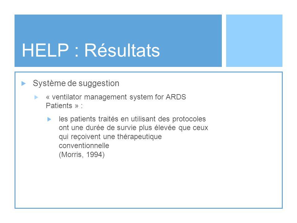HELP : Résultats Système de suggestion « ventilator management system for ARDS Patients » : les patients traités en utilisant des protocoles ont une d