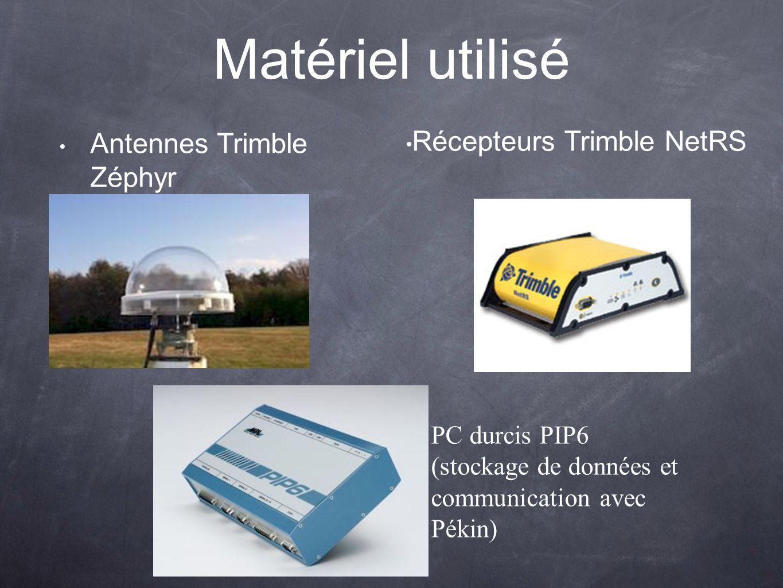 Matériel utilisé Antennes Trimble Zéphyr Récepteurs Trimble NetRS PC durcis PIP6 (stockage de données et communication avec Pékin)