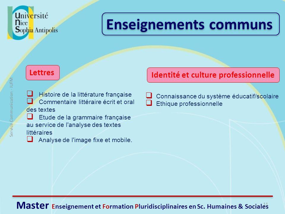 11 Service Communication - IUFM Master Enseignement et Formation Pluridisciplinaires en Sc. Humaines & Sociales Histoire de la littérature française C
