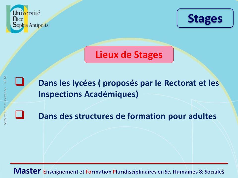 Lieux de Stages Dans les lycées ( proposés par le Rectorat et les Inspections Académiques) Dans des structures de formation pour adultes 14 Service Co