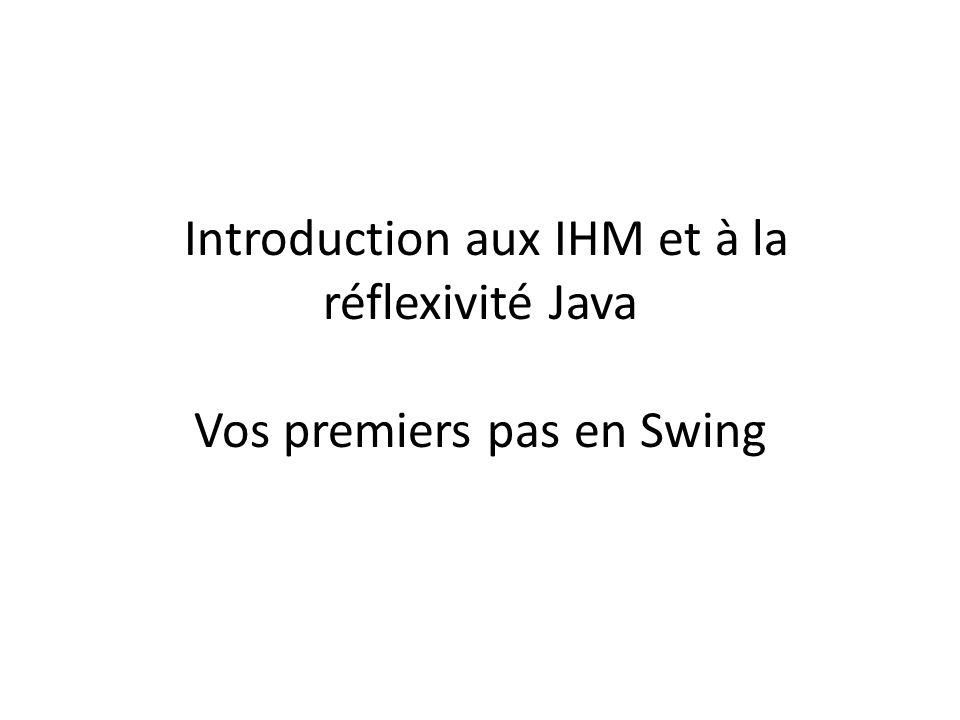 Aperçu de Swing et aussi… Les îcones : javax.swing.ImageIcon créer avec le nom dun fichier image par exemple Menus : les JMenuBar, JMenu, JMenuItem Les Layout :Basé sur PreferredSize ou une maximisation de lélément BorderLayout –par défaut dans une fenêtre –ajout en précisant la zone –add( North , comp) FlowLayout : en ligne GridLayout : en tableau GridBagLayout : avec des contraintes etc.