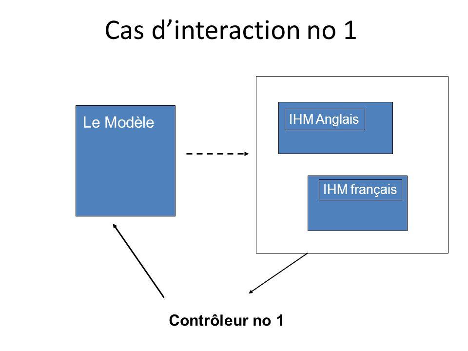 Cas dinteraction no 1 Le Modèle IHM Anglais IHM français Contrôleur no 1