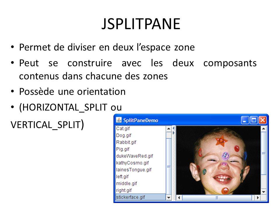 JSPLITPANE Permet de diviser en deux lespace zone Peut se construire avec les deux composants contenus dans chacune des zones Possède une orientation