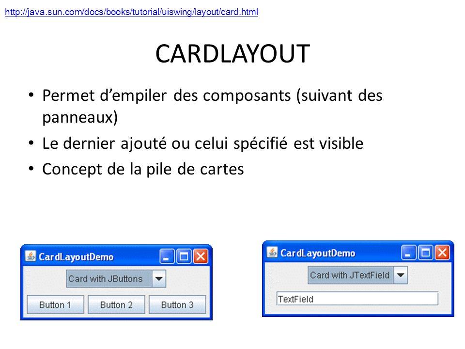 CARDLAYOUT Permet dempiler des composants (suivant des panneaux) Le dernier ajouté ou celui spécifié est visible Concept de la pile de cartes 43 http: