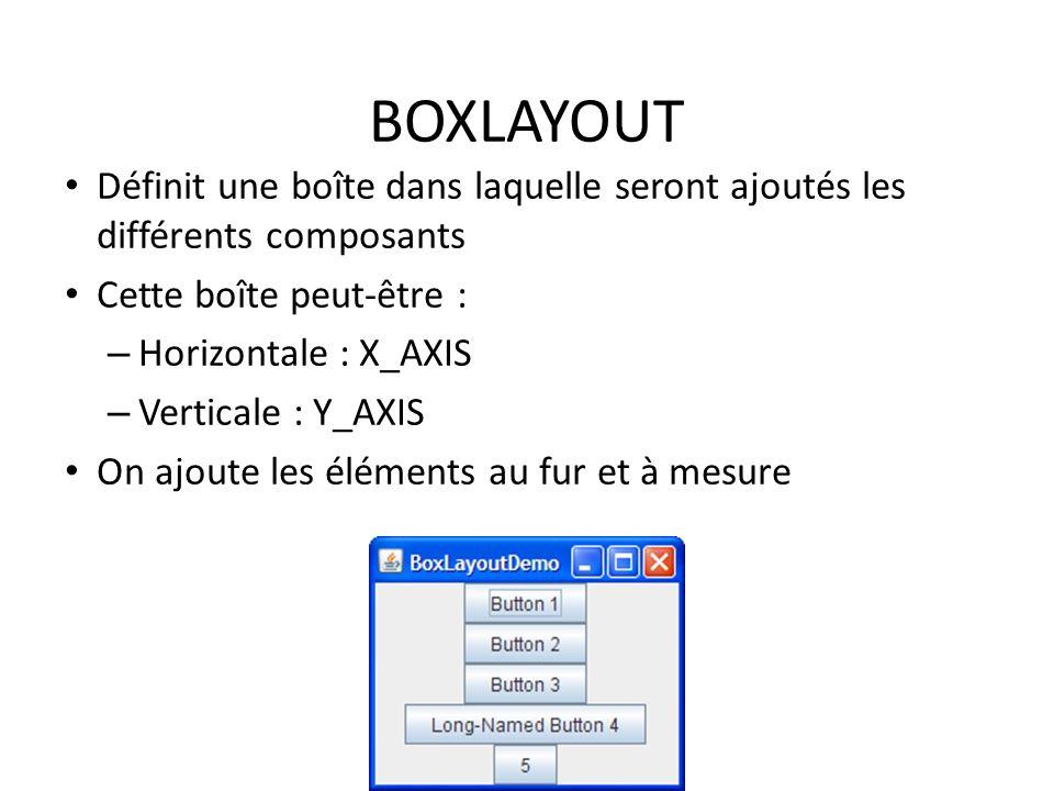 BOXLAYOUT Définit une boîte dans laquelle seront ajoutés les différents composants Cette boîte peut-être : – Horizontale : X_AXIS – Verticale : Y_AXIS