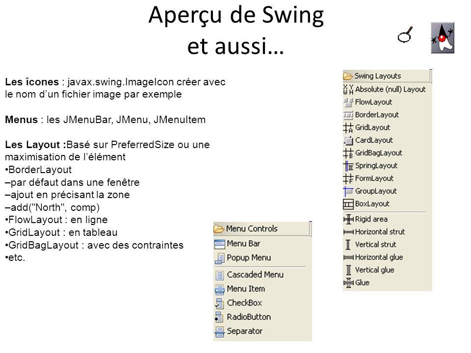 Aperçu de Swing et aussi… Les îcones : javax.swing.ImageIcon créer avec le nom dun fichier image par exemple Menus : les JMenuBar, JMenu, JMenuItem Le