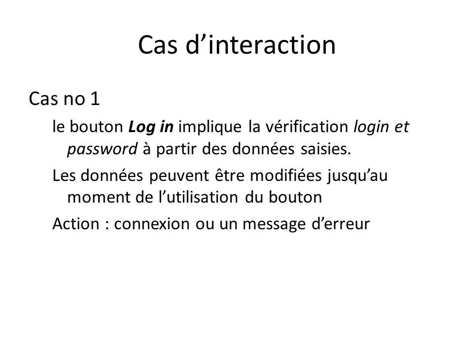 Cas dinteraction Cas no 1 le bouton Log in implique la vérification login et password à partir des données saisies. Les données peuvent être modifiées