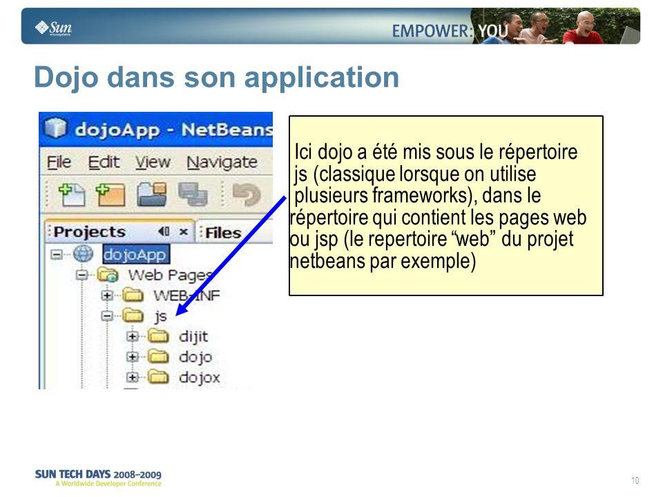 10 Dojo dans son application Ici dojo a été mis sous le répertoire js (classique lorsque on utilise plusieurs frameworks), dans le répertoire qui cont