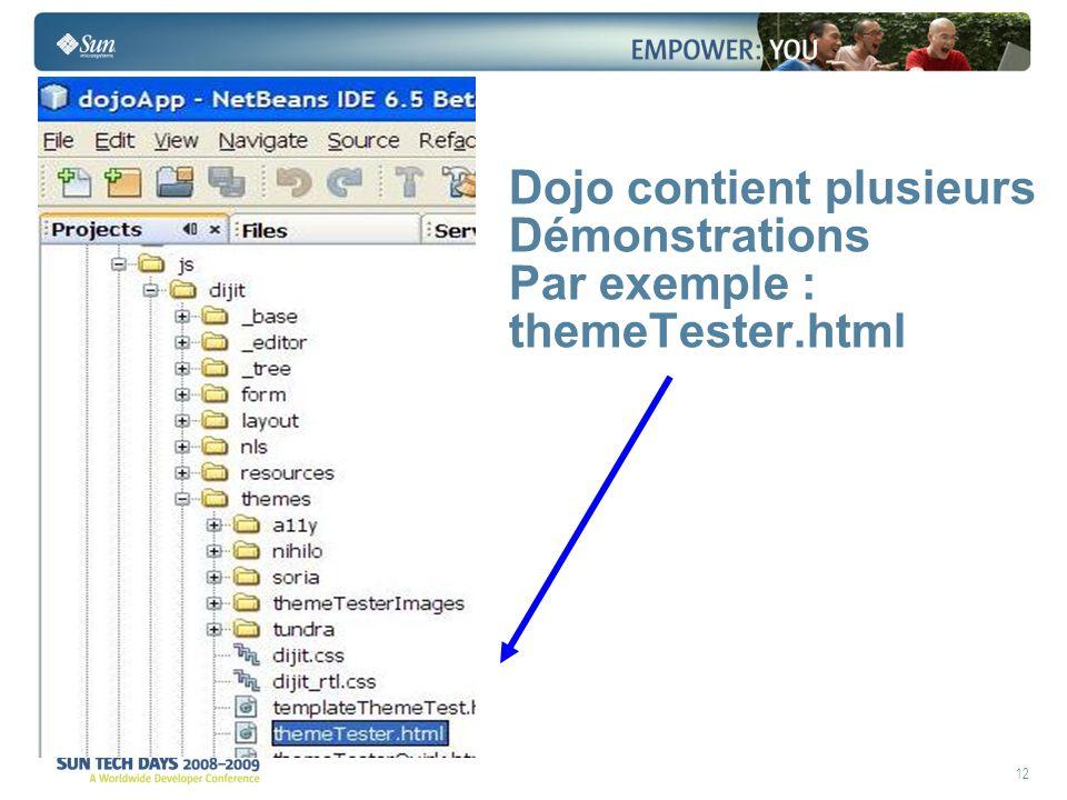 12 Dojo contient plusieurs Démonstrations Par exemple : themeTester.html