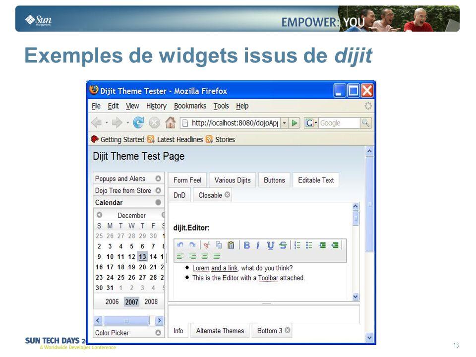 13 Exemples de widgets issus de dijit