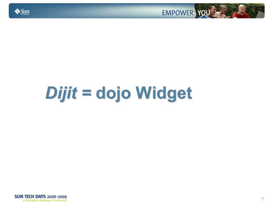 17 Dijit = dojo Widget Dijit = dojo Widget