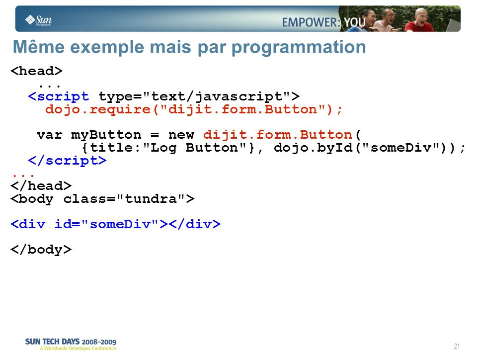 21 Même exemple mais par programmation...