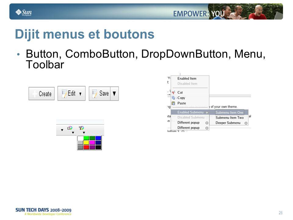 26 Dijit menus et boutons Button, ComboButton, DropDownButton, Menu, Toolbar