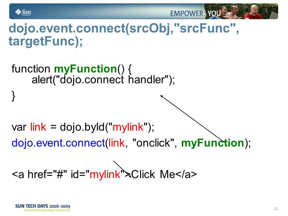 34 dojo.event.connect(srcObj, srcFunc , targetFunc); function myFunction() { alert( dojo.connect handler ); } var link = dojo.byId( mylink ); dojo.event.connect(link, onclick , myFunction); Click Me