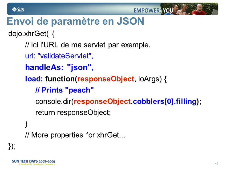 48 Envoi de paramètre en JSON dojo.xhrGet( { // ici l URL de ma servlet par exemple.