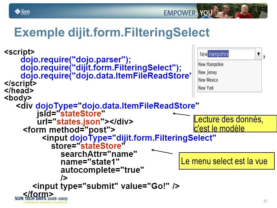 50 Exemple dijit.form.FilteringSelect dojo.require( dojo.parser ); dojo.require( dijit.form.FilteringSelect ); dojo.require( dojo.data.ItemFileReadStore ); <div dojoType= dojo.data.ItemFileReadStore jsId= stateStore url= states.json > <input dojoType= dijit.form.FilteringSelect store= stateStore searchAttr= name name= state1 autocomplete= true /> Le menu select est la vue Lecture des donnés, c est le modèle